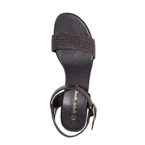 Andrés Machado.AM5141.Sandales compensées en Soft.Grandes Pointures 42/45 Noir