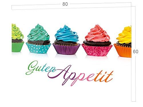 GRAZDesign Küchenspiegel Guten Appetit, Küche Glasrückwand mit Cupcakes, Küchenrückwand Glas bunt / 80x60cm