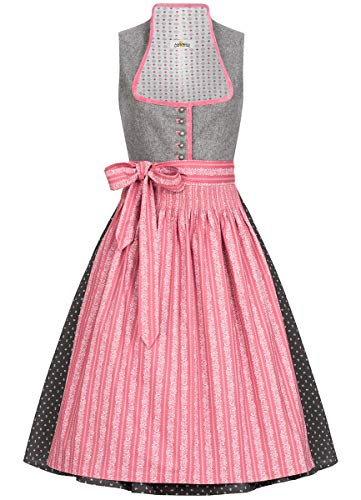 Almsach Damen Trachten-Mode Midi Dirndl Dora traditionell Gr.32-54, Größe:46, Farbe:Grau/Altrosa