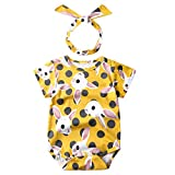 LEXUPE Neugeborene Baby Mädchen Cartoon Kaninchen Print Strampler Bodysuits Playsuit(Gelb,80)