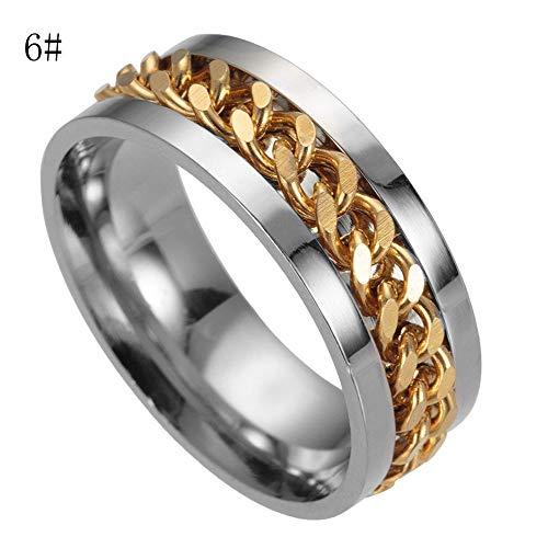 Cwemimifa Damen Ring mit Wellen Trendsymbol Strand Maritim in 925 Sterling Silber, Herren Titan Stahl Kette Rotation Ring Cross Border Schmuck Ring, Gold, 10#