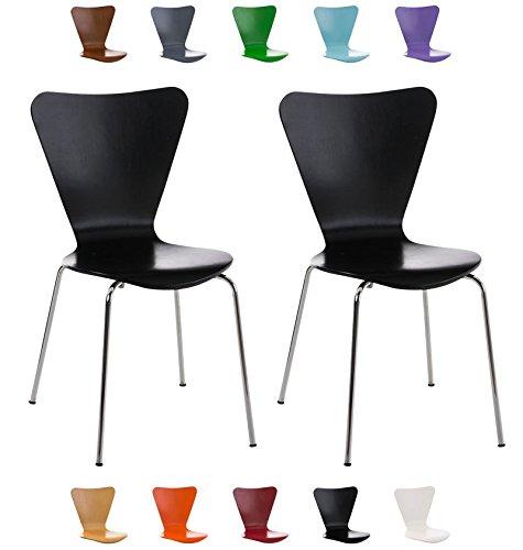 Clp set 2 sedie impilabili calisto con seduta in legno e telaio in metallo | sedia conferenza salvaspazio, facile da pulire | sedia classica riunioni | altezza seduta 45 cm | sedia attesa per fiere |sedia visitatore robusta nero