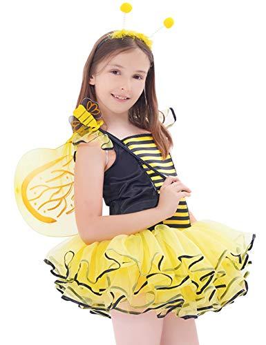 IKALI Hummel Bienen kostüm für Kinder Mädchen, Feen Tutu Rock Ballett Kleider (Biene Kostüm Kind Größe)