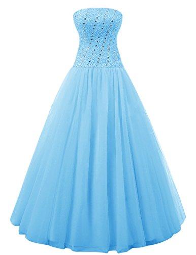 Dresstells Robe de cérémonie Robe de soirée en tulle emperlée forme marquise longueur ras du sol Bleu