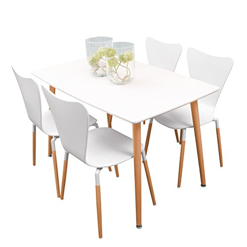 Homely - Conjunto de mesa de cocina ECLECTIC con 4 sillas tipo Jacobsen