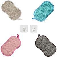 Paquet de 4 Éponges à Vaisselle Lavable,Eponge Lavable Vaisselle Reutilisable, Eponge a Recurer en Microfibre, Tampons…