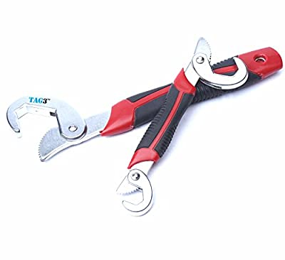 TAG3 (TM) Branded 1 Set of 2 Pcs Hand Tools Hose All Match Grip Multi function Universal adjustable spanner Garden All in One Wrench