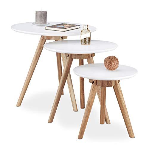 Relaxdays Beistelltisch 3er Set, Tischbeine aus Walnuss-Holz, weiße Tischplatte 50, 40 und 32 cm, im nordischen Design, weiß / natur (Blumen Vase Mit Hocker)