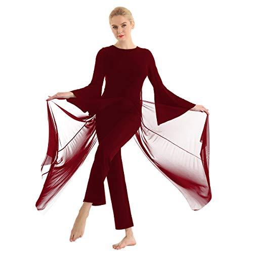 Kostüm Lyrical Dance - FEESHOW Frauen Tanzbody Mesh Overall Jumpsuit mit ausgestellten Ärmel Erwachsene Lyrical Dance kostüm Burgundy X-Small
