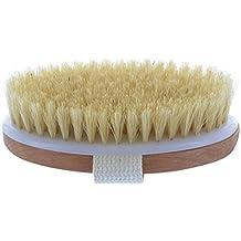 Cepillo para cuerpo seco con cerdas naturales. Bolsa de viaje de tela de guante de lavado. Libro electrónico sobe cepillado de piel