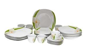 Van well calla service de table 60 pièces en porcelaine design carré pour 12 personnes blanc à décor floral