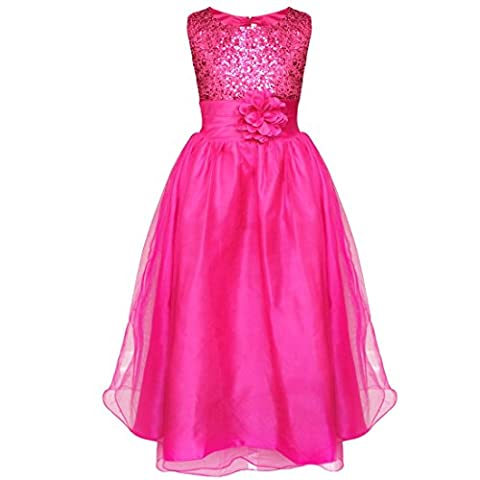 FEESHOW Girls Flower Sequined Wedding Princess Dress Summer Formal Party Pageant Dresses Deep Pink 13-14 Years