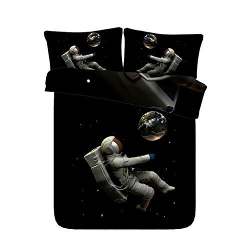 ZG Galaxy Outer Space Astronaut 3 Pezzo Blu Galaxy Bambini Ragazzi Set Biancheria da Letto con 2 Cuscini Shams Star Universe Copripiumino Pianeta Copriletto (Colore : Duvet Black, Dimensioni : King)