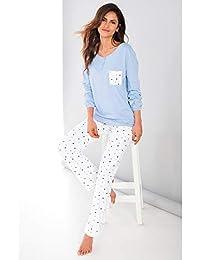 Pijama Camiseta de Escote Redondeado con Tapeta de automáticos Mujer b - 016378