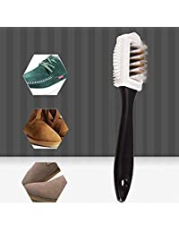 Elevin_Home Decor & Kitchen Durable S Shape Boot Shoes Cleaner 3 Side Suede Shoe Cleaning Brush (Standard, Black)