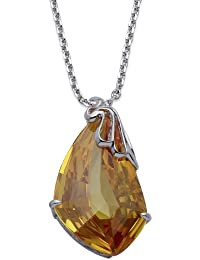 Jodie Rose Silver Colour Metal with Topaz Colour Crystal Pendant with Chain of Length 16.5 inch + 2 inch extender