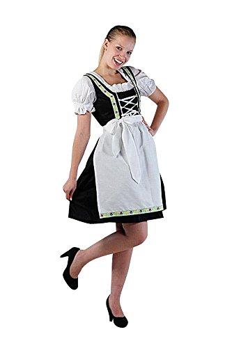 Mini Dirndl, nero/fucsia, 3pezzi, con grembiule + camicetta, taglia 38-58 nero-bianco