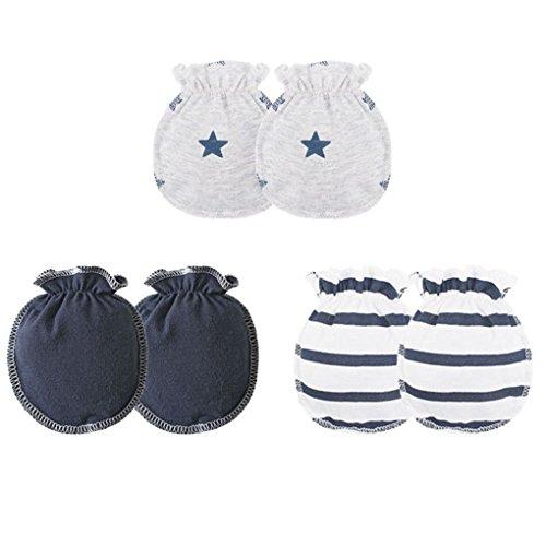 3 pares Los bebés bebé guantes algodón suave banda