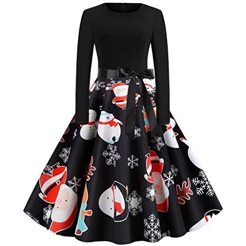 Luckycat Damen Weihnachtenkleid Damen Kostüm Bedrucktes Cocktailkleid Langarm Party Abendkleid Lange Kleider A-Linie Swing Minikleid Damen Abendkleider Lang Mit Armel Partykleid Damen Festlich