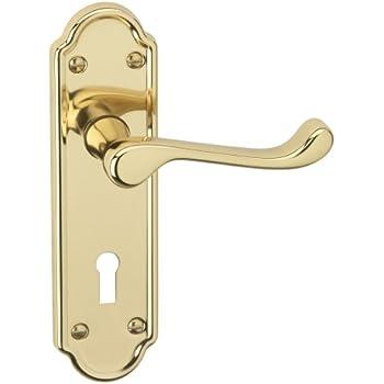 Ashworth Polished Brass Lever Lock Modern Door Handle Set