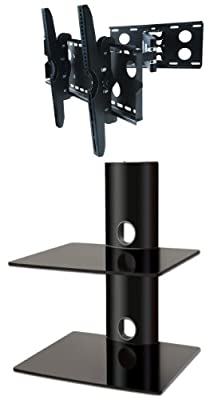 PACKAGE DEAL! Two GLASS SHELVES Wall Mount for AUDIO VIDEO Equipment-all BLACK + Universal SWIVEL / TILT Bracket with EXTENSION ARM for ALL TV Brands 37 40 42 46 47 50 52 54 55 58 60 inch TV Flat Panel-HD Ready Screen