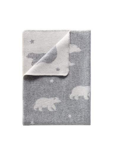 J.J. Housse de Couette pour bébé en Tissu Motif Ours Polaire et étoile Gris réversible Chaud et Confortable en Laine Petit Format