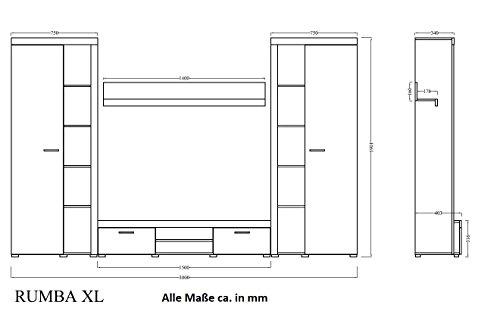 Wohnwand in Betonoptik Weiss matt, TV-Board mit Vitrinen Bild 2*