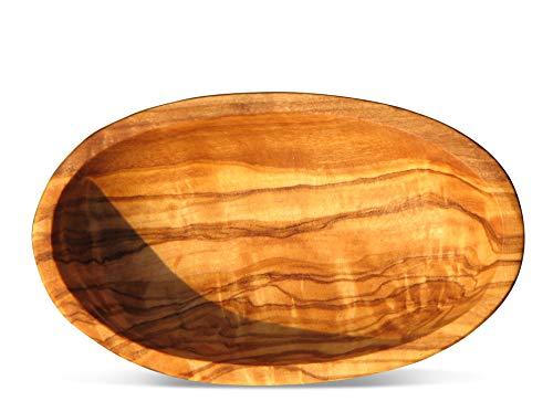 Manufaktur Figura Santa Lido-Cuenco Ovalado de Madera de Olivo, Aprox. 21x 13cm. con Muy Schöner Vetas, con linaza prensado eingelassen. Cada Carcasa es un Ejemplar único.