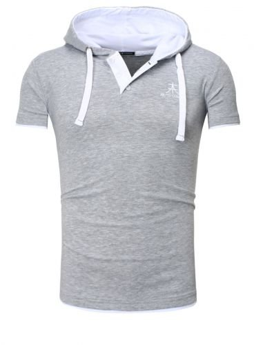 Contrast POLO HOODED T-Shirt - grau / weiß Größe M
