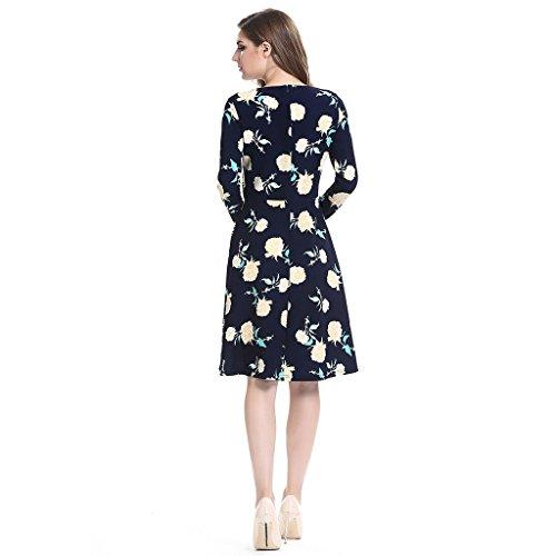 f3af8f12f817 GWELL Retro Vintage Blumen Damen Swing Kleider Sommer Kleid Strandkleid Kleider  Elegant Dunkelblau ...