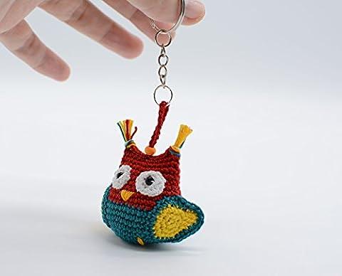 Porte-clés de lune de peluche, hibou turquoise rouge, petit cadeau de hibou, sac chouette