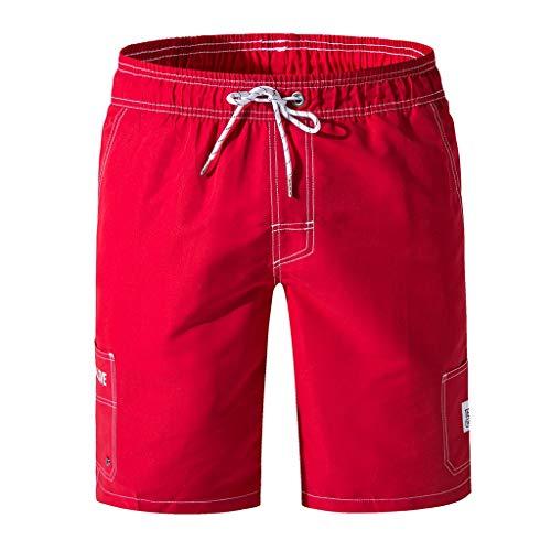 Leinen-look Tunnelzug Shorts (TWISFER Badehose Herren kurz Badeshorts männer Strand Surf Shorts Schwimmhose für Laufen Surfen Schwimmen Beachshorts mit Verstellbarem Tunnelzug)