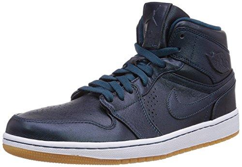 Nike - Air Jordan 1 Mid Nouveau, Scarpa da uomo, blu (blau  (spc bl/spc bl-white-gm lght br)), 44