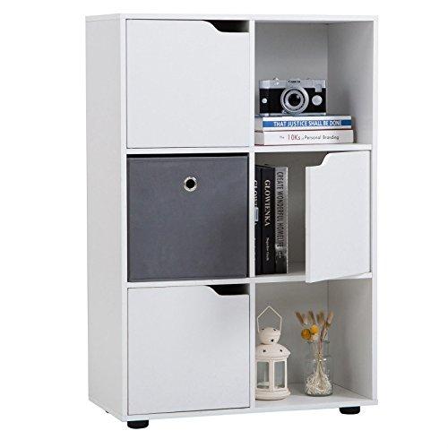 CARO-Möbel Regal Vermont Bücherregal Raumteiler mit 6 Fächern, Davon 3 mit Türen, in Weiß (Tür-bücherregal 3)