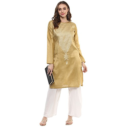 Ziyaa Women's Beige Color Printed Straight Poly Silk Kurta (ZIKUPS1903)
