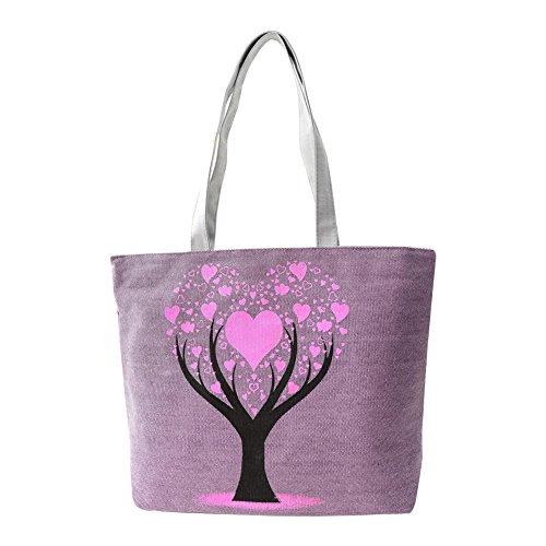 Hrph Love Tree Canvas Handtasche Preppy Schultasche für Mädchen-Frauen-Handtaschen , nette Taschen Purple