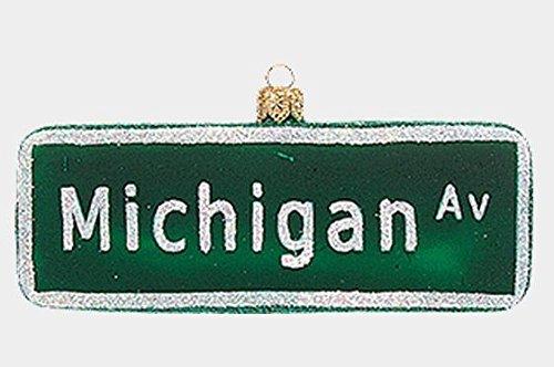 Pinnacle Peak Trading Company Michigan Avenue Street Sign Polish Glass Christmas Ornament Chicago Decoration