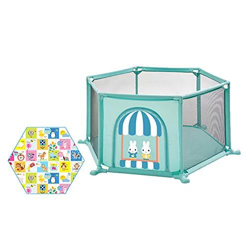 Parc de sécurité pour Tout-Petits avec Matelas Hexagone, Aire de Jeu pour bébé Anti-Renversement pour bébé, barrière de Jeu Anti-Collision de très Grande Taille (Couleur : Green)