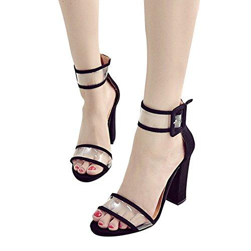 Kootk Femmes Talon Haut Bloc Sandales Boucle Strappy Peep Toe Pompes Transparent Chaussures 10 cm Mode Été Fête Chaussures, Open Toe Sandales