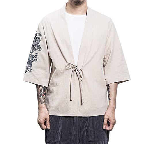 Cry Wolf Kostüm - VBWER Herren Strickjacke im losen japanischen Stil Hemd-Oberseiten Printed Gutaussehend Stylish Bluse beiläufige Lange Hülsen-dünne Hemd-Oberseiten