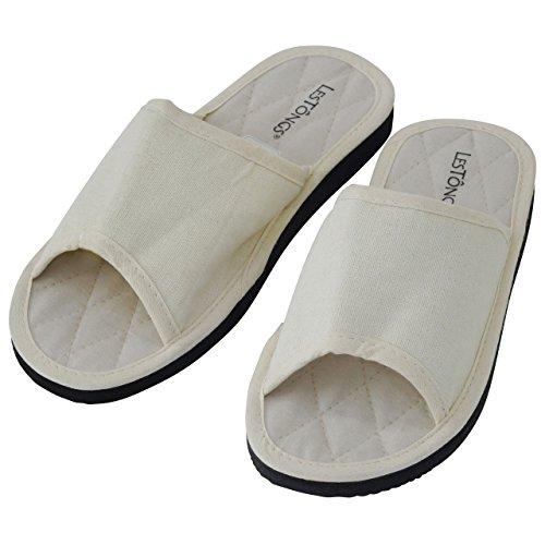 Japanwelt Zimtlatschen COTTON-W   Les Tongs Zimt Schuhe mit Zimtsohle, perfekt für den Sommer oder als Hausschuh   VEGAN mit natürlicher Baumwoll-Sohle Weiß
