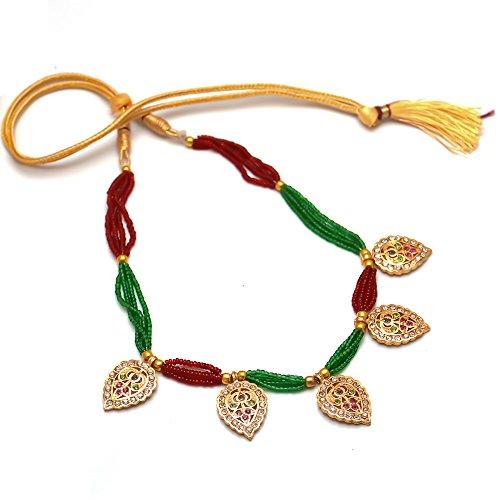 Jewar mandi Pearl Locket Set Branded gold plated Pearl AD bridal bollywood handmade fine jadau Jewelry 6585 foe womens girls