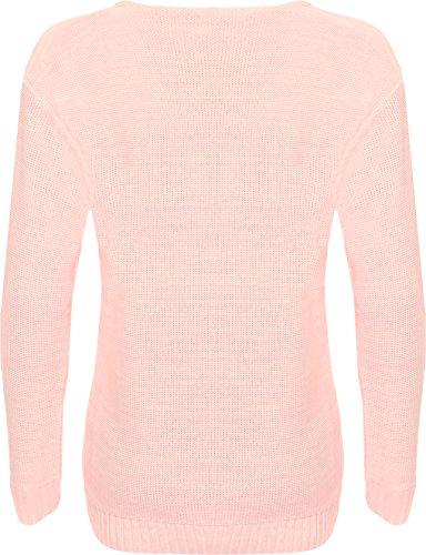 WearAll - Pull tricoté à manches longues avec l'image du renard qui porte les lunettes - Pulls - Femmes - Tailles 36 à 42 Rose
