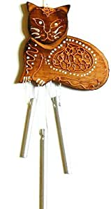 CARILLON chat BOIS METAL ARTISANAT WOODEN BELL WIND CHIME cat VENT MOBILE