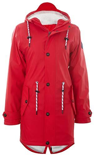 Friesennerz | Maritime Jacke | Regenjacke | veredelt | Das Original aus Ostfriesland in 2 Modell Norderney (XL, Rot mit Fleece)