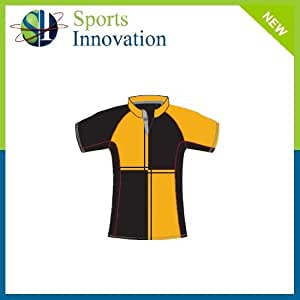 "Sports Polyester Fitted Rugby Shirt- Black/Amber- Size 2XL (46"")"
