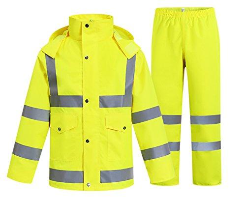 SK Studio Erwachsenen Arbeit Regenanzug Reflektierend Regenjacke Wasserdicht Atmungsaktiv Regenhose Regenbekleidung Neon Gelb EU L Atmungsaktive Regenbekleidung