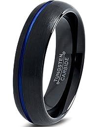 Tungsten Wedding banda anillo 6mm for MEN Women Black Blue Off Set Line Dome Brushed Lifetime Guarantee