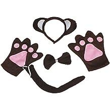 Mono diadema pajarita cola guantes disfraz de 4 piezas para niños fiesta de cumpleaños