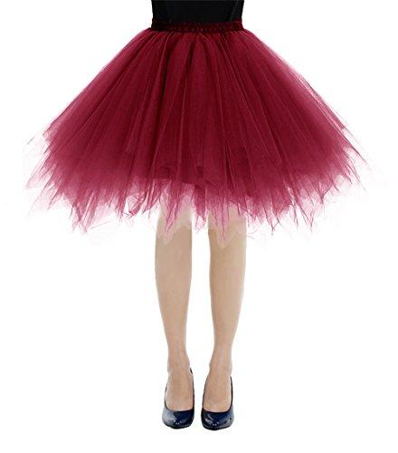 bbonlinedress Kurz Retro Petticoat Rock Ballett Blase 50er Tutu Unterrock Burgundy XL